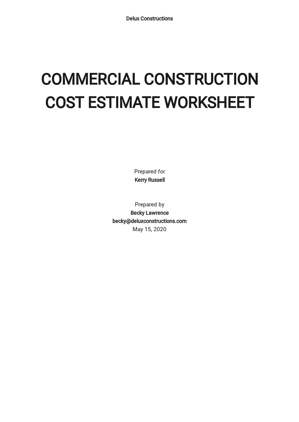 Commercial Construction Cost Estimate Template
