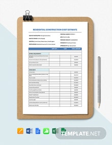 Residential Construction Cost Estimate Template