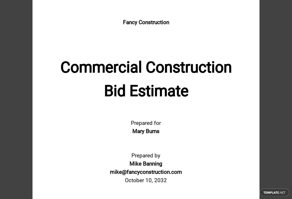 Commercial Construction Bid Estimate Template