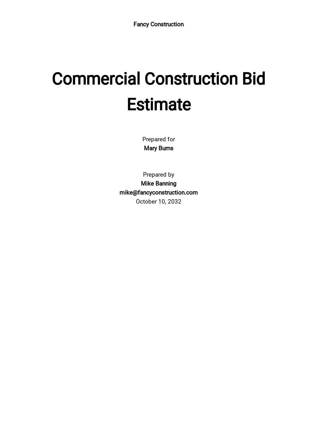 Commercial Construction Bid Estimate Template