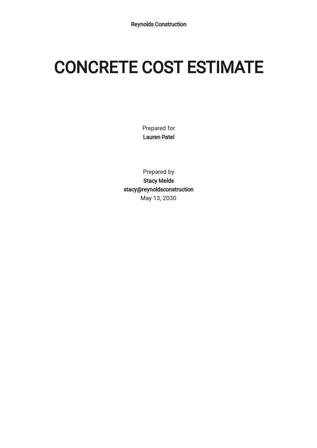 Concrete Cost Estimator Template