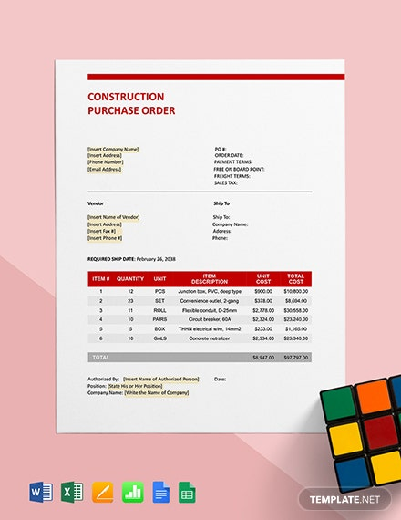 Construction Purchase Order Template