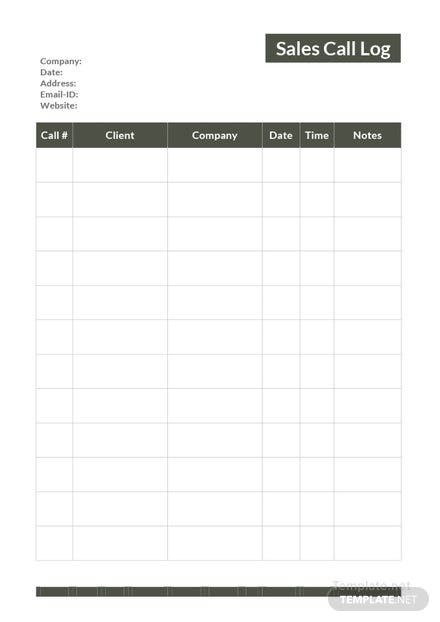 Free Sales Call Log Template: Download 239+ Sheets in Word, Excel ...