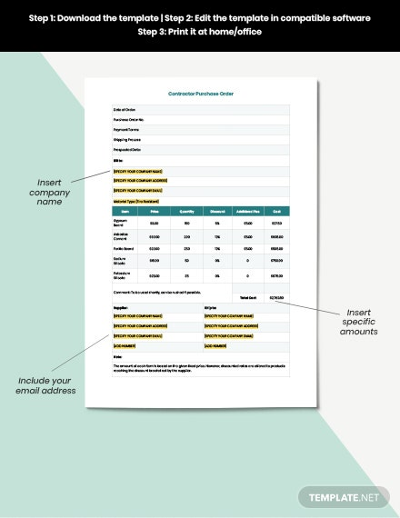 Contractor purchase order download