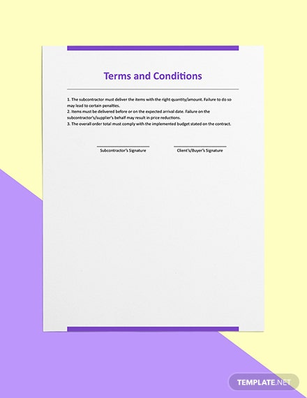 Subcontractor Construction Purchase Order Sample