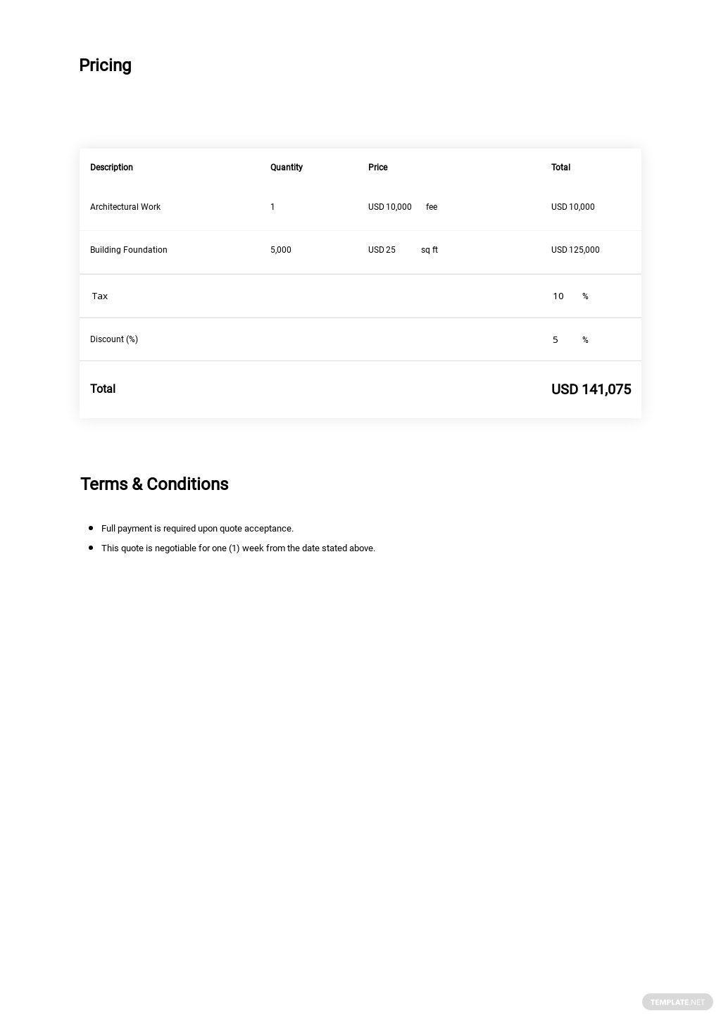 Free Sample Construction Quotation Template 1.jpe