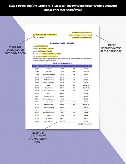 Sample Construction Quotation Format