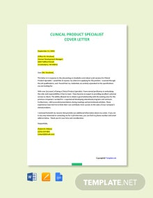 Free Clinical Product Specialist Cover Letter Template