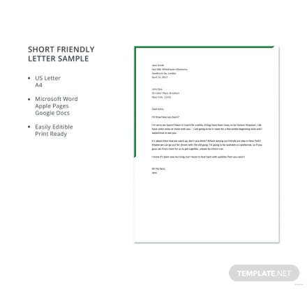 Short friendly letter sample in microsoft word apple pages google download ready made easy to edit template spiritdancerdesigns Image collections