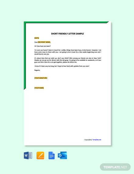 Free Short Friendly Letter Sample