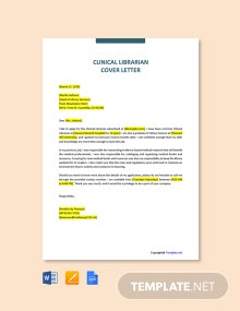Free Clinical Librarian Cover Letter Template