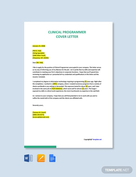 Clinical Programmer Cover Letter Template
