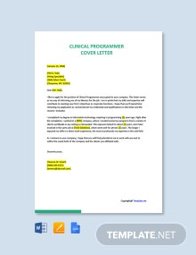 Free Clinical Programmer Cover Letter Template