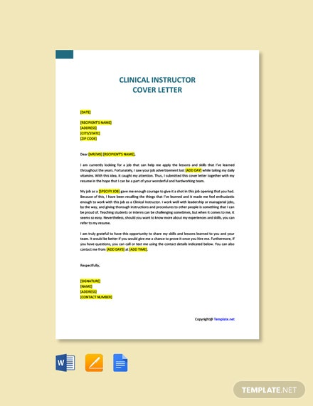 Free Clinical Instructor Cover Letter Template