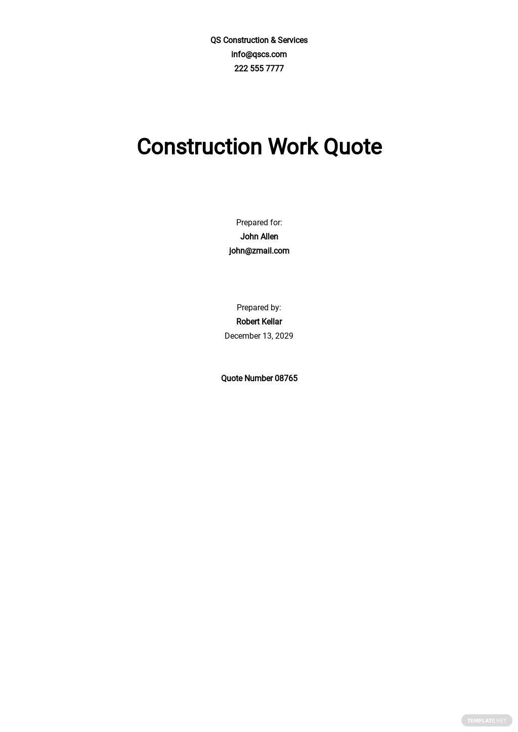 Simple Construction Quotation Template