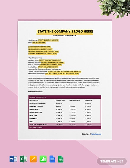 Free Basic Construction Quotation Template