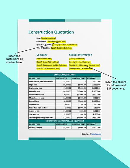 Editable Construction Quotation Example