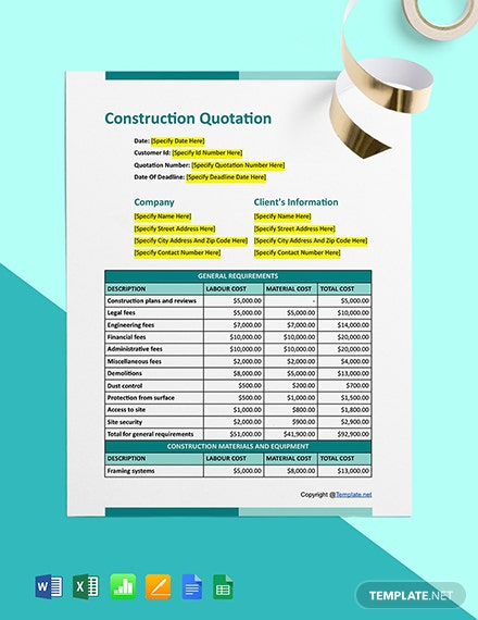 Free Editable Construction Quotation Template