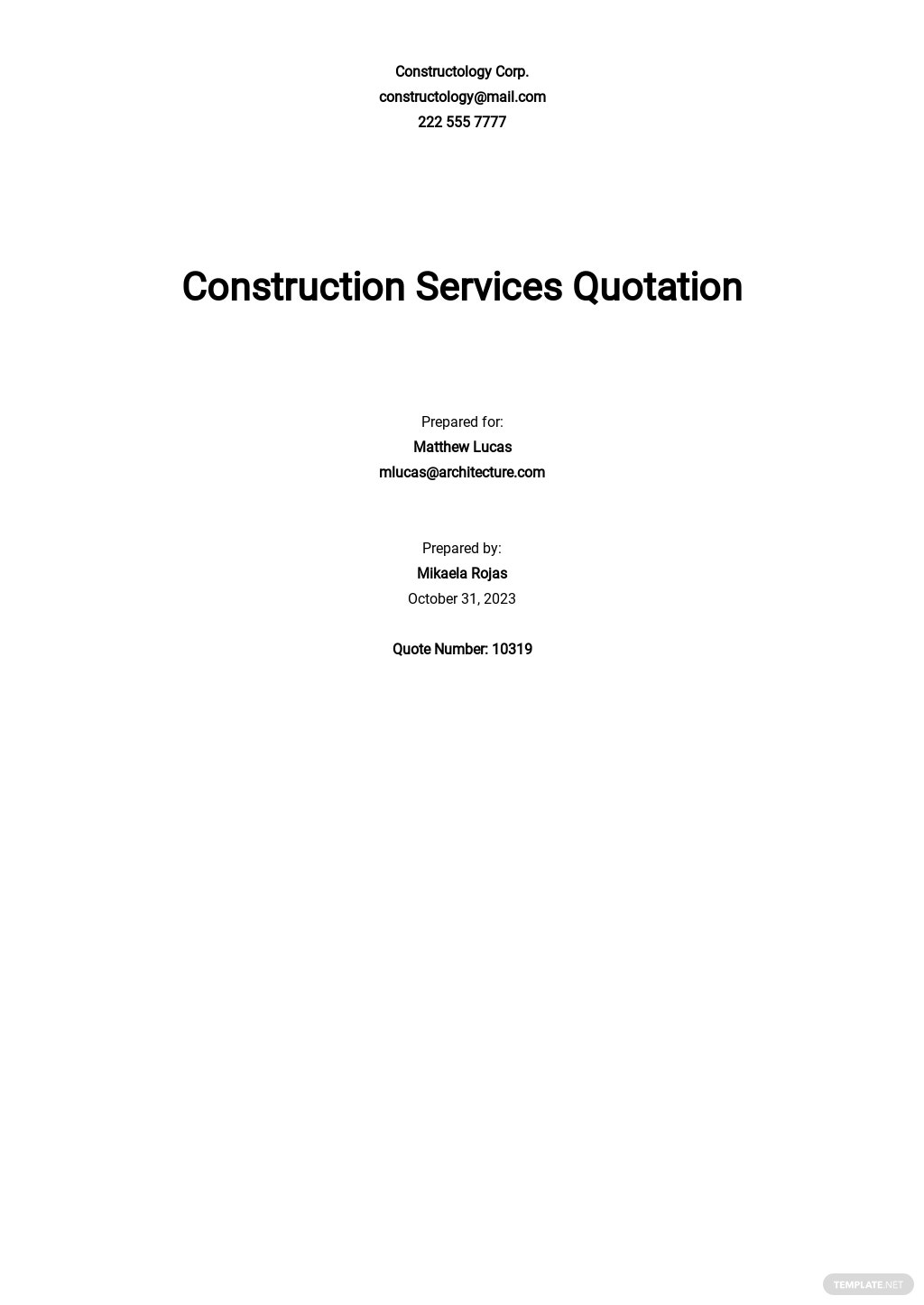 Editable Construction Quotation Template