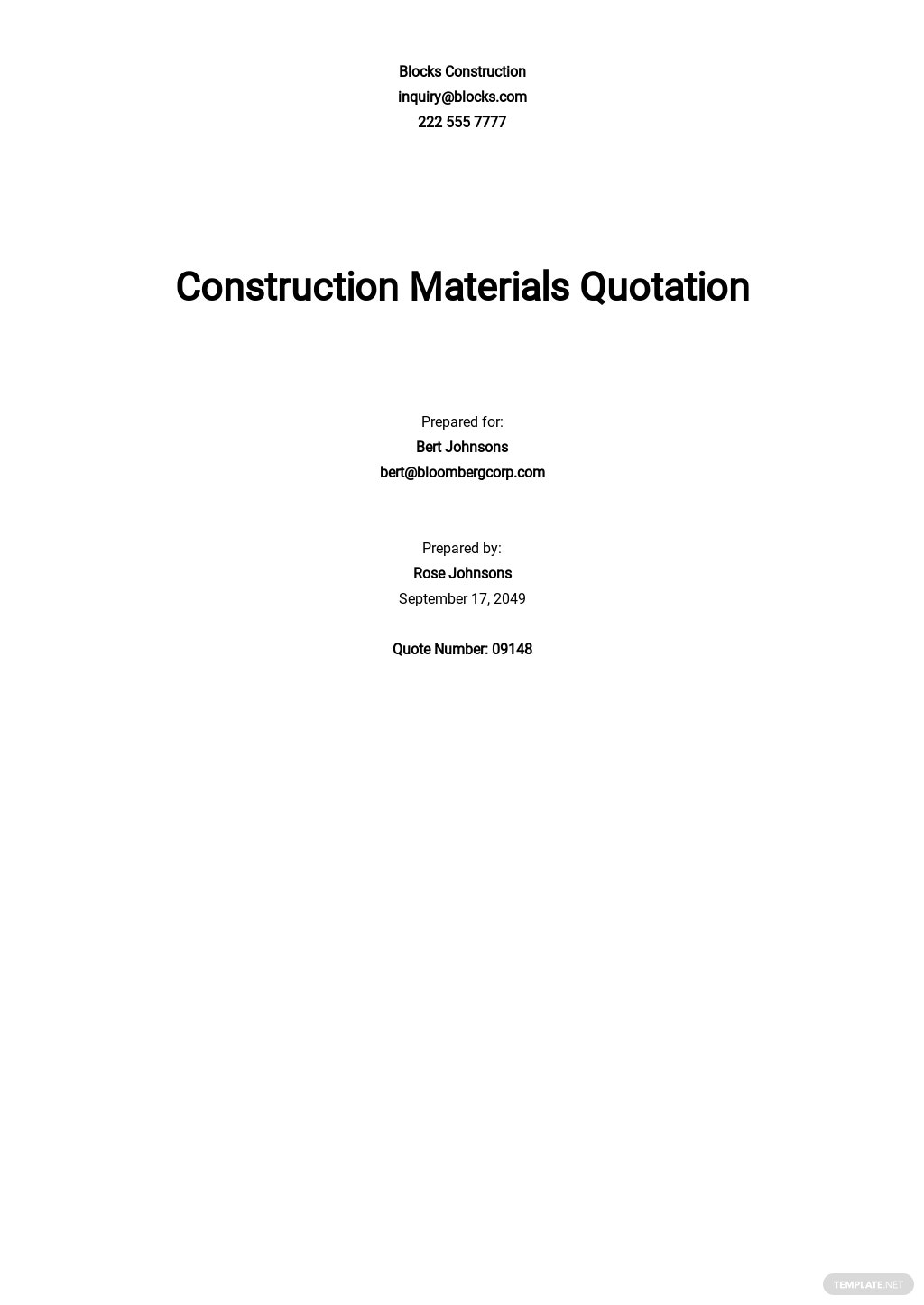 Printable Construction Quotation Template