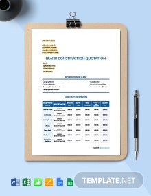 Free Blank Construction Quotation Template