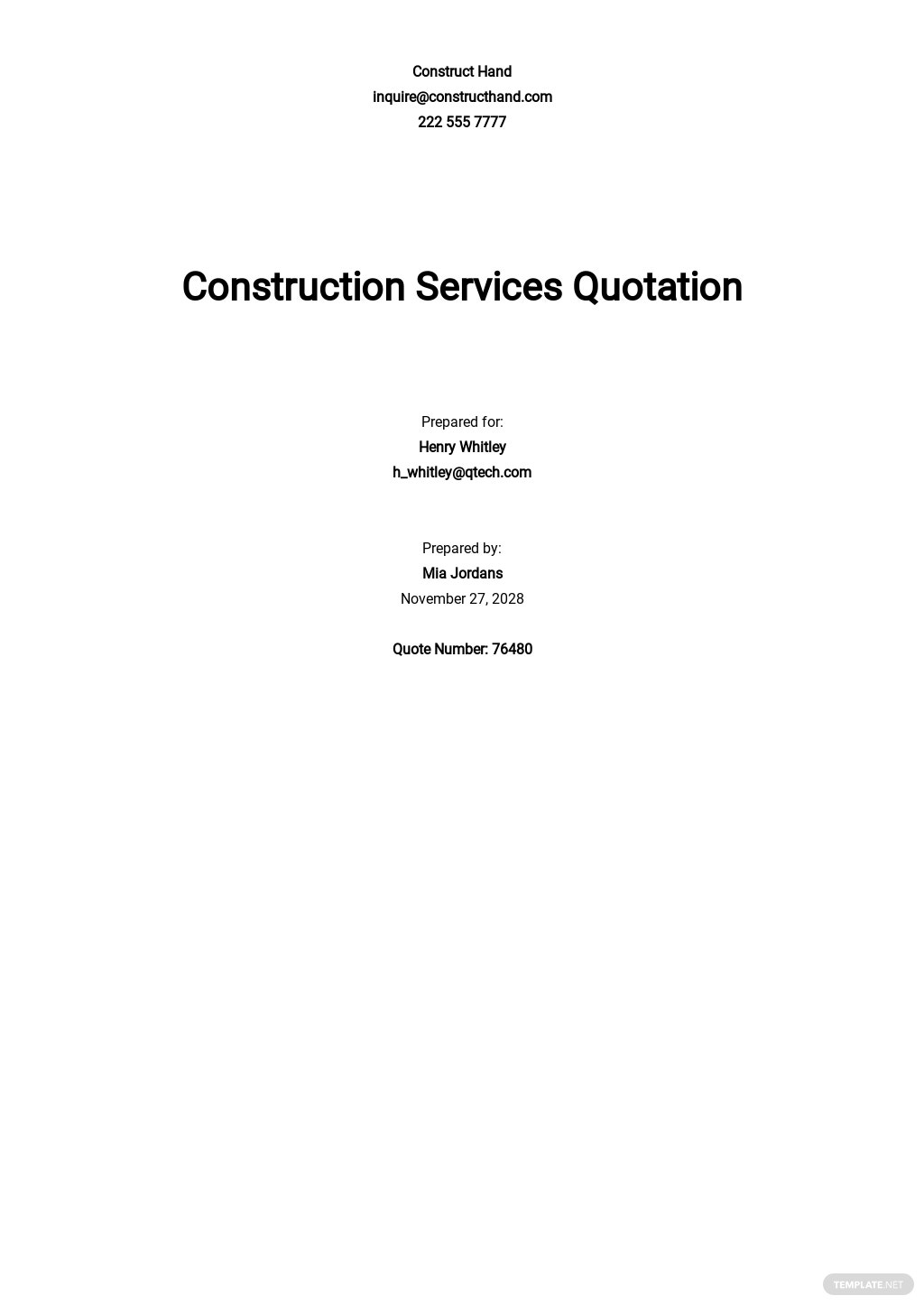 Blank Construction Quotation Template