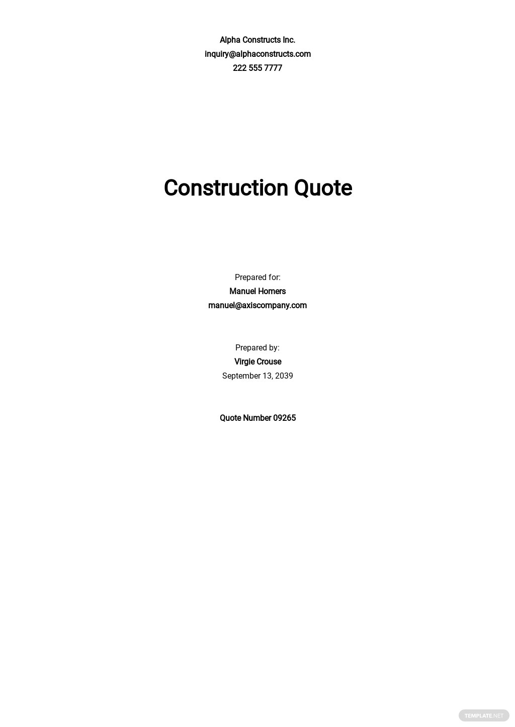 Construction Request for Quotation Template