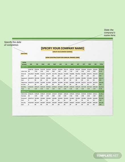 Construction Company Annual Financial Tracking Sample