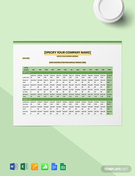 Construction Company Annual Financial Tracking Template