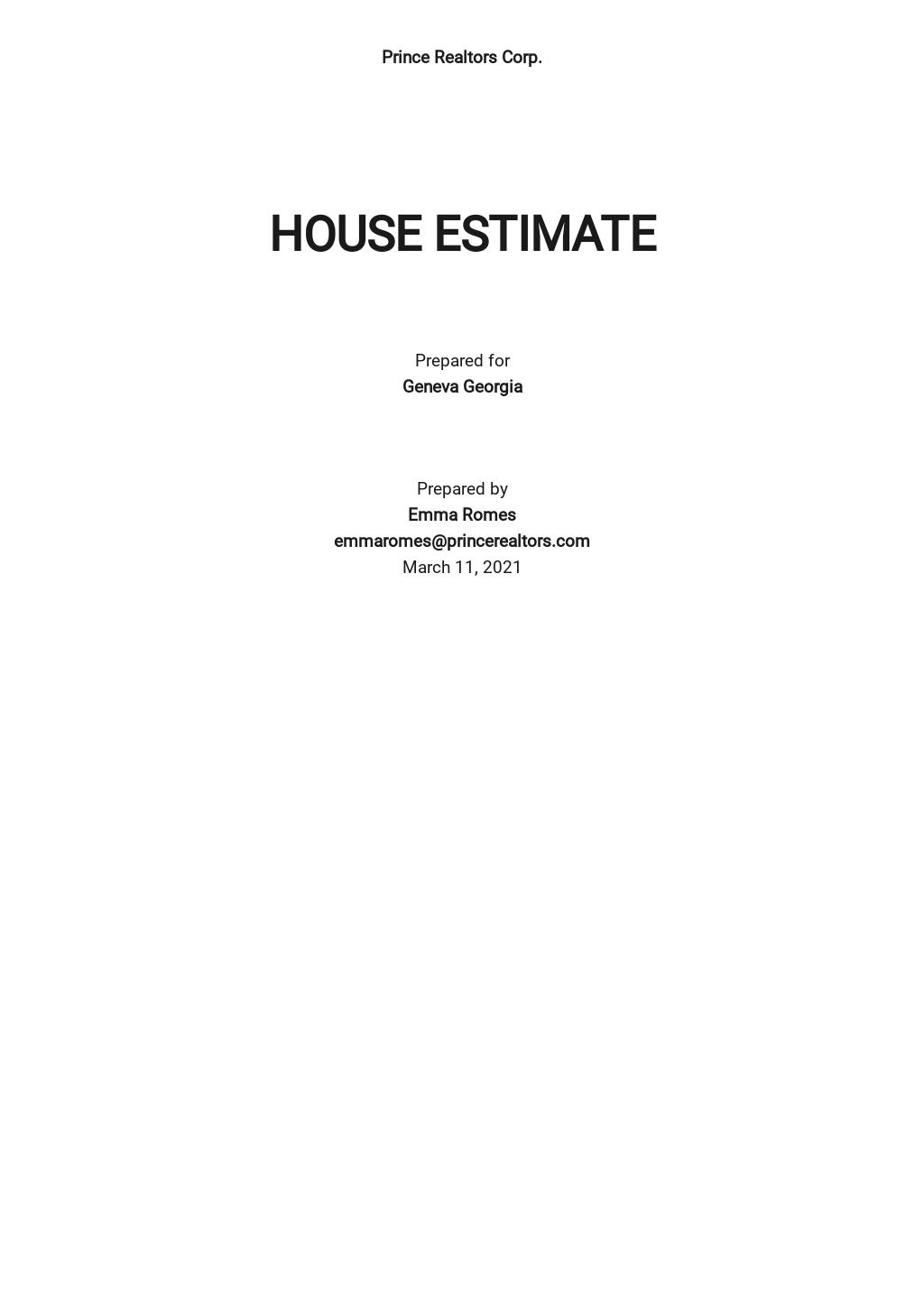 House Estimator Template