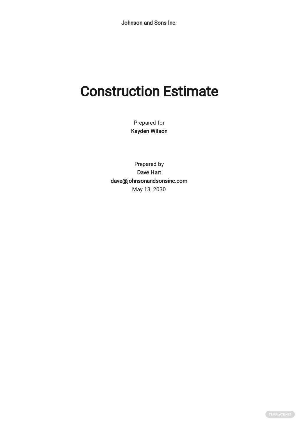 Simple Construction Estimating Sheet Template