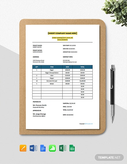 Free Simple Construction Estimating Sheet Template