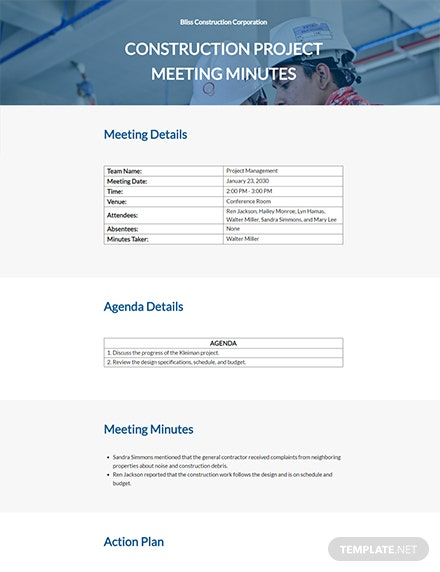 Free Blank Construction Meeting Minutes Template