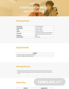 Free Simple Construction Meeting Minutes Template