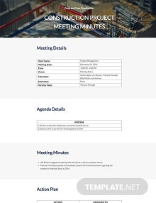 Free General Construction Meeting Minutes Template