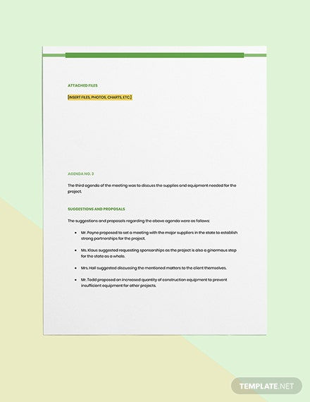 Product Construction Meeting Minutes Download
