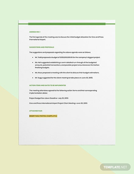 Product Construction Meeting Minutes Format