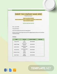 Product Construction Meeting Minutes Template