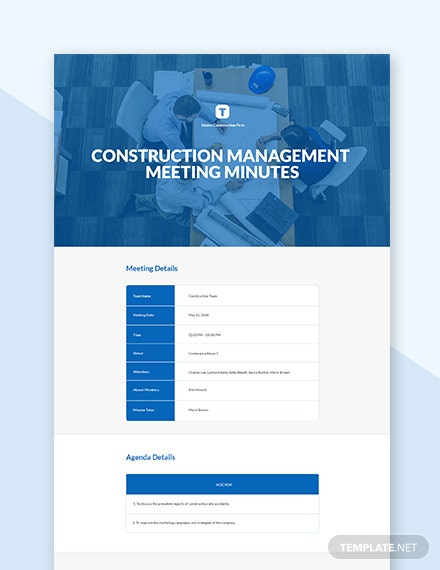 Construction Management Meeting Minutes Template