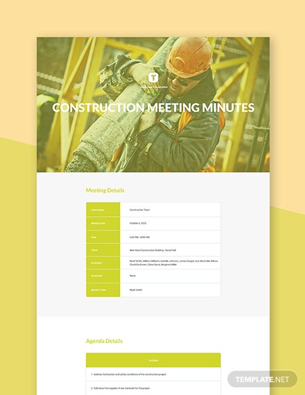Kick off Construction Meeting Minutes Template