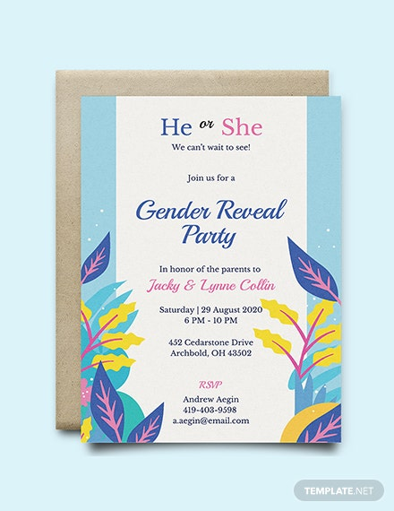 Free Gender Reveal Invitation Template