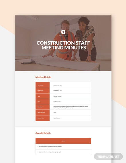 Construction Staff Meeting Minutes Template