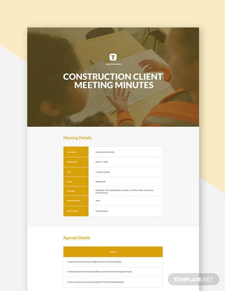 Construction Client Meeting Minutes Template