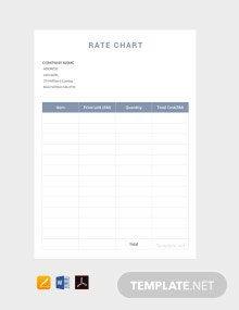 Free Rate Chart Template