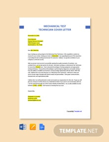 Free Mechanical Test Technician Cover Letter Template