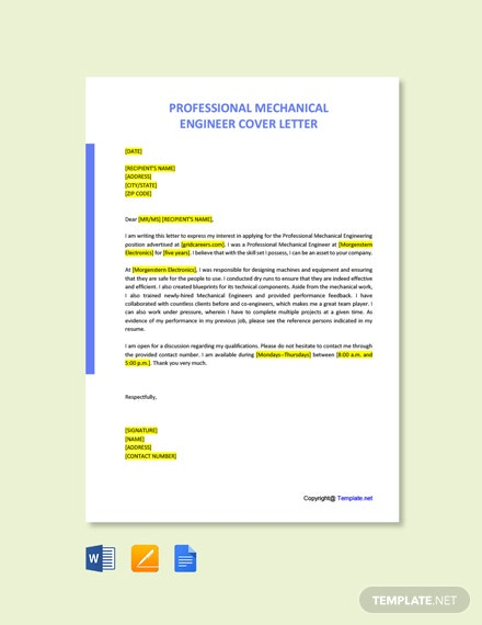 Free Professional Mechanical Engineer Cover Letter Template