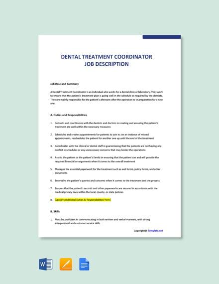 Free Dental Treatment Coordinator Job Description Template