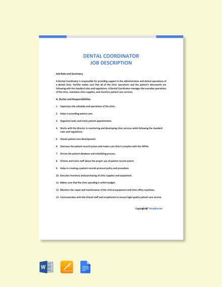 Free Dental Coordinator Job Description Template