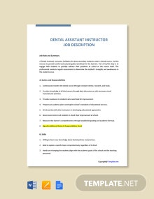 Free Dental Assistant Instructor Job Ad and Description Template