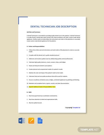 Free Dental Technician Job Ad and Description Template